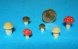 6 Miniatur-Pilze, 8 - 14 mm